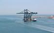 The new cranes enter through Malamocco Inlet