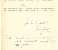 Appunti relativi al traffico negli anni 1961-1962, citati nella lettera.