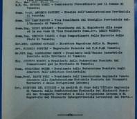 Elenco dattiloscritto dei componenti del Consiglio di Amministrazione.