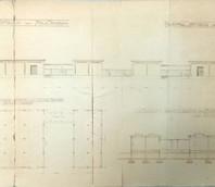 Prospetti, sezione e pianta degli hangar per deposito benzina e petrolio, che fa