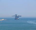 Le gru, su una chiatta trainata dai rimorchiatori, entrano nella bocca di porto