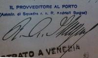 Particolare della firma del Provveditore al Porto