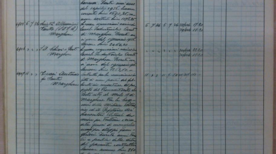 La pagina del registro di repertorio su cui è registrato l'atto, col n. 4907.