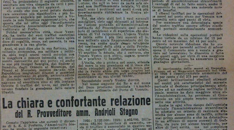 Articolo de Il Gazzettino del 27/08/1929