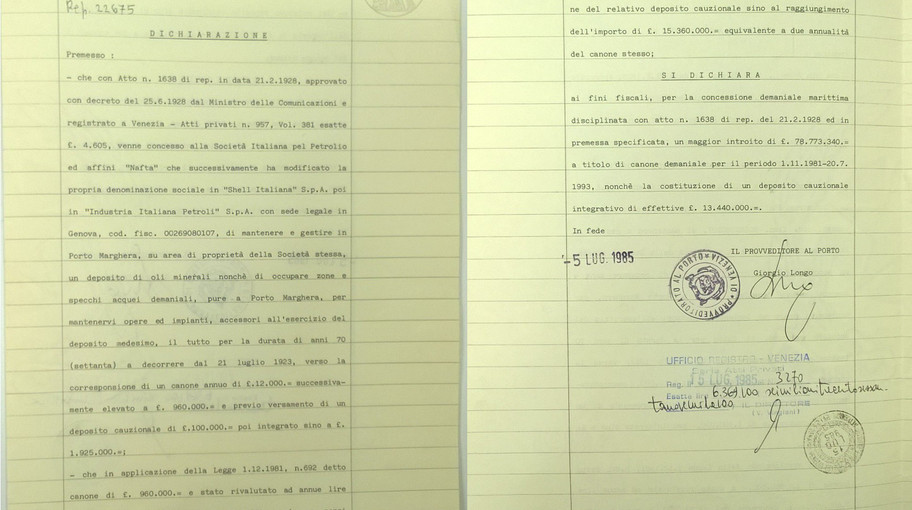 Dichiarazione di maggior introito del 1985 con citato il secondo mutamento della