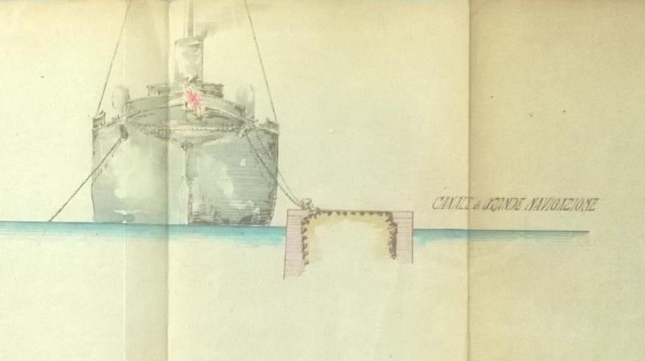Particolare del disegno, raffigurante una nave attraccata