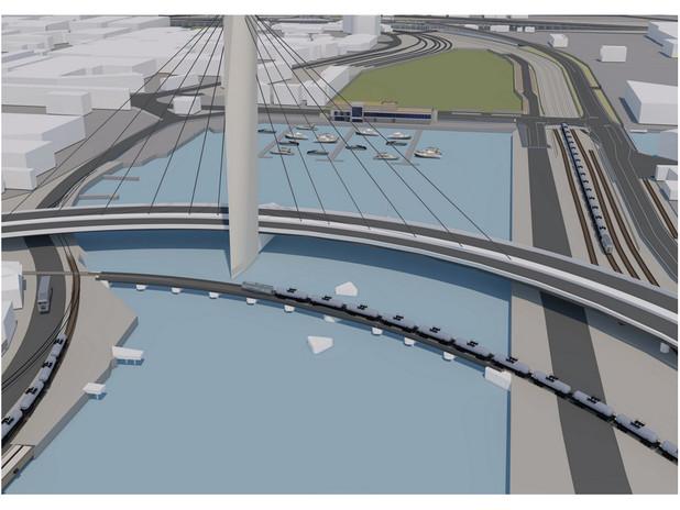 Rendering del nuovo ponte ferroviario