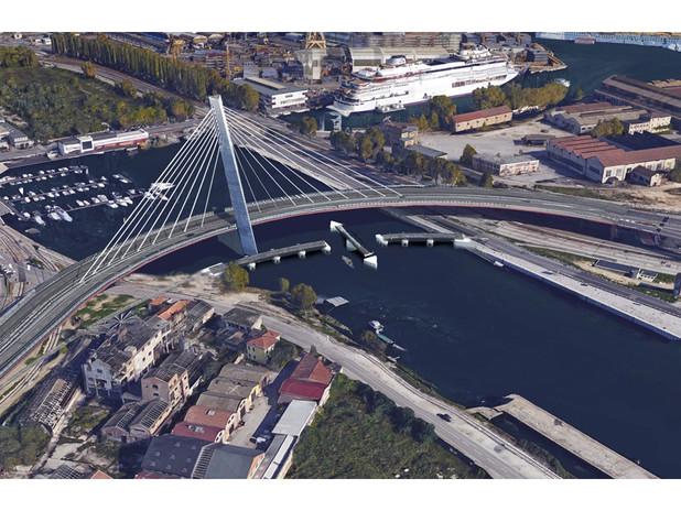 Un'altra immagine del nuovo ponte ferroviario