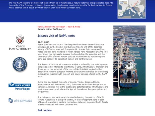 Preview del sito del NAPA
