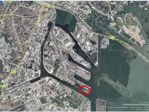 Il porto commerciale di Marghera. E' evidenziata la banchina Emilia