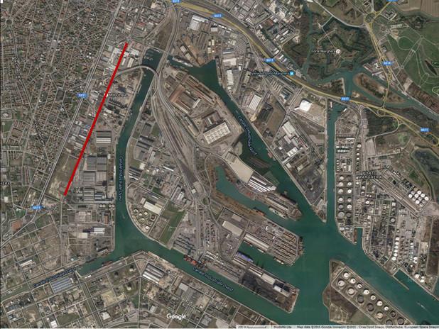 L'area di via dell'Elettricità (segnata in rosso) sede degli interventi descritt