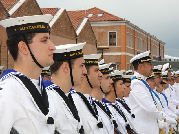 Harbourmaster's sailors attending a ceremony