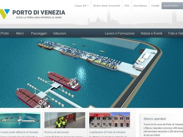 Schermata del nuovo sito web del Porto di Venezia