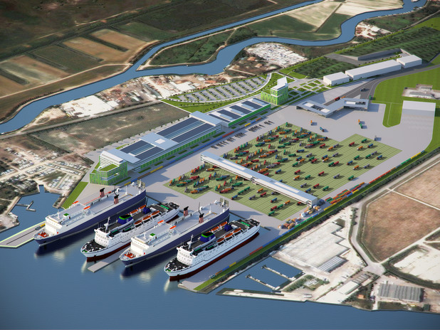 Rendering of the new Motorways of the Sea Terminal