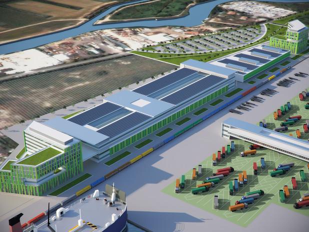Rendering del nuovo Terminal delle Autostrade del Mare