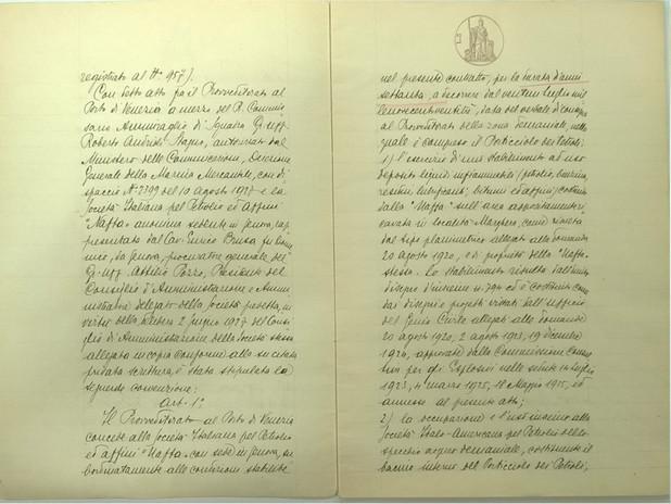 Trascrizione della convenzione alla Regia Conservatoria delle Ipoteche di Venezi
