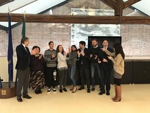 Gli studenti insieme ad alcuni funzionari dell'Autorità Portuale di Venezia