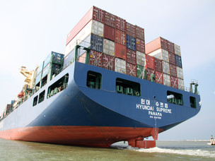 A container mother vessel entering the Port of Venice